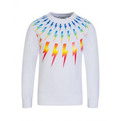 Kids White Colourful Thunderbolts Sweatshirt