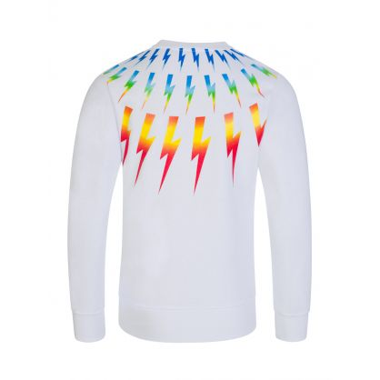 Kids White Colourful Thunderbolts Sweatshirt
