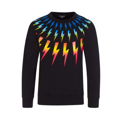 Kids Black Colourful Thunderbolts Sweatshirt