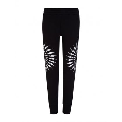 Kids Black Thunderbolts Print Sweatpants