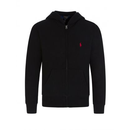 Kids Black Fleece Zip-Through Hoodie