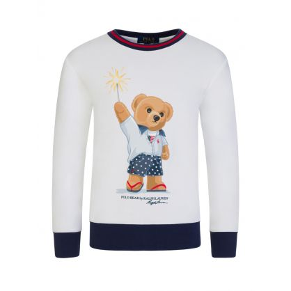Kids White Sparkler Bear Sweatshirt