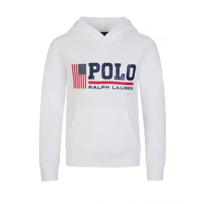 Kids White Polo Sport Fleece Hoodie