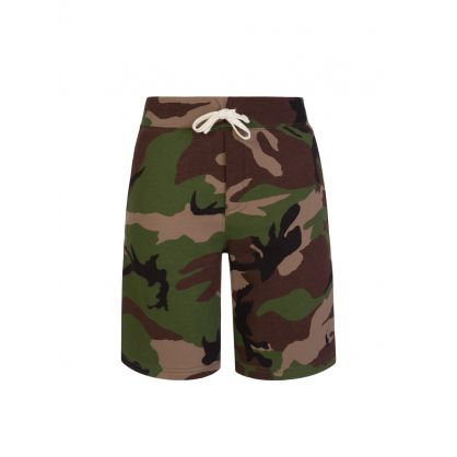 Kids Green Camo-Print Fleece Shorts