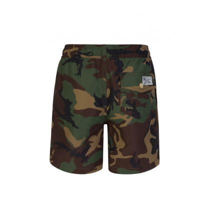 Kids Green Camo-Print Traveler Swim Shorts