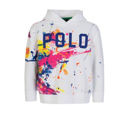 Kids White Paint-Splashed Popover Hoodie