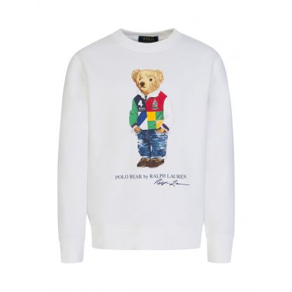 Kids White Graphic Bear Fleece Jumper