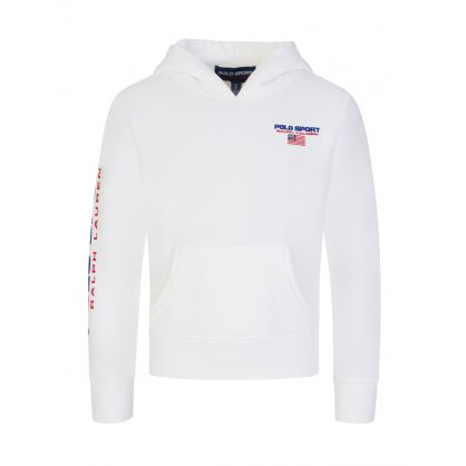 Kids White Polo Sport Logo Fleece Hoodie
