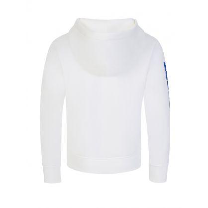 Kids White Polo Sport Logo Fleece Hoodie