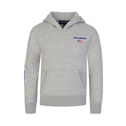 Kids Grey Polo Sport Logo Fleece Hoodie