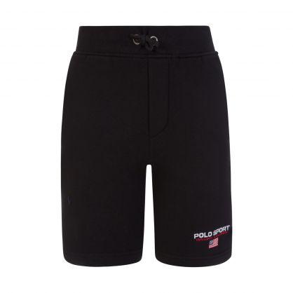 Polo Sport Black Fleece Logo Shorts