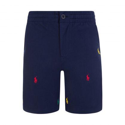 Kids Navy Pony Logo Prepster Shorts