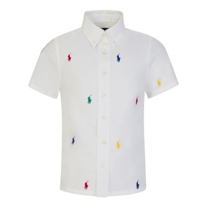 Kids White Pony Logos Oxford Shirt