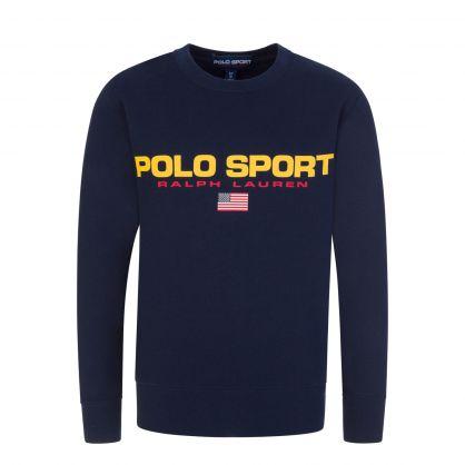 Navy Fleece Logo Sweatshirt