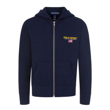 Navy Fleece Zip-Through Hoodie