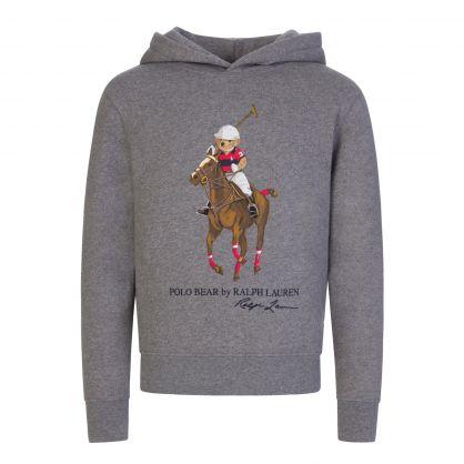 Kids Grey Fleece Polo Bear Hoodie