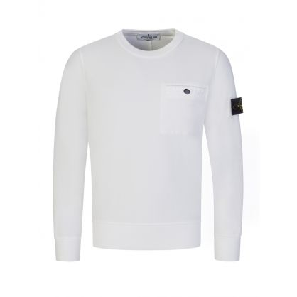 Junior White Chest Pocket Sweatshirt