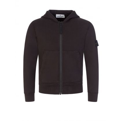 Junior Black Hooded Zip-Through