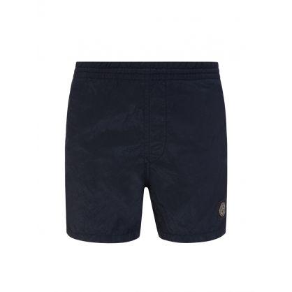 Junior Black Compass Patch Logo Swim Shorts