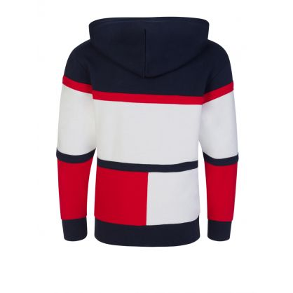 Kids Navy Colour-Blocked Organic Cotton Hoodie