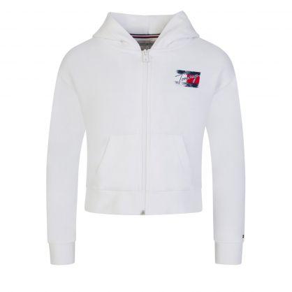 Kids White Faded Logo Zip-Through Hoodie