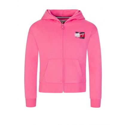 Kids Pink Hooded Zip Through