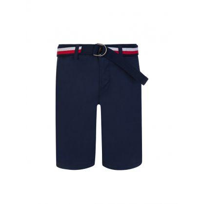 Kids Navy Slim Fit Belted Chinos