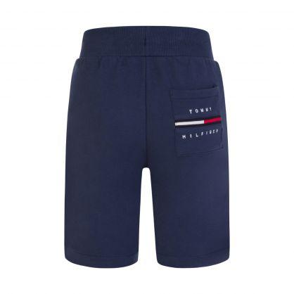 Kids Navy Rib Insert Sweat Shorts
