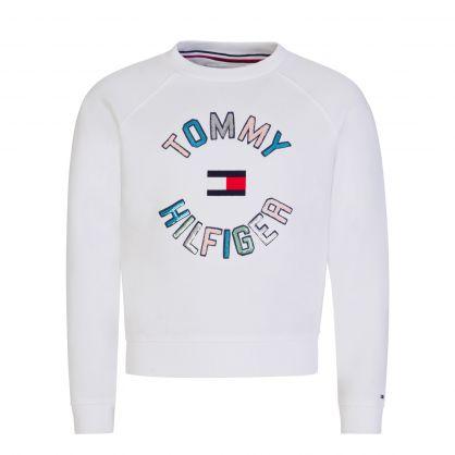 Kids White Sequin Logo Sweatshirt