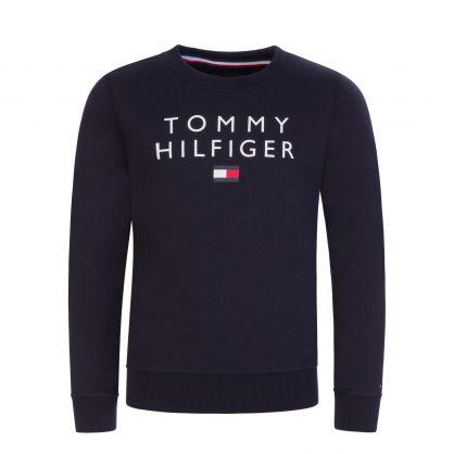 Kids Navy Tommy Flag Crewneck Logo Sweatshirt