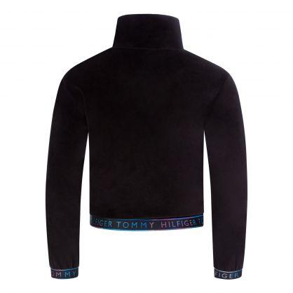 Kids Black Velour-Cotton Turtle Neck Sweatshirt