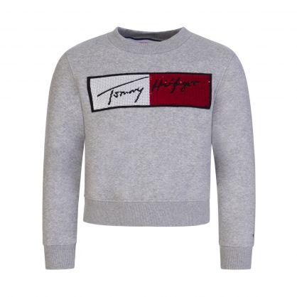 Kids Grey Sequin Flag Sweatshirt