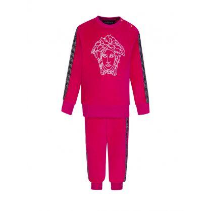 Pink Junior Velvet Logo Tracksuit