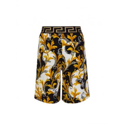 Black Acanthus Print Junior Shorts