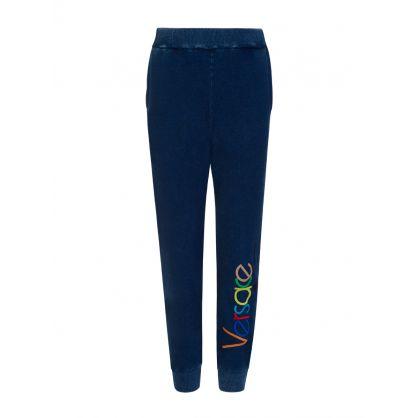 Blue Junior Embroidered Vintage Logo Sweatpants
