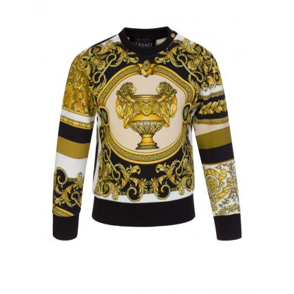 Black Junior Baroque-Print Sweatshirt