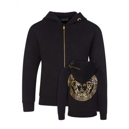 Black Medusa-Print Junior Zip-Through Hoodie