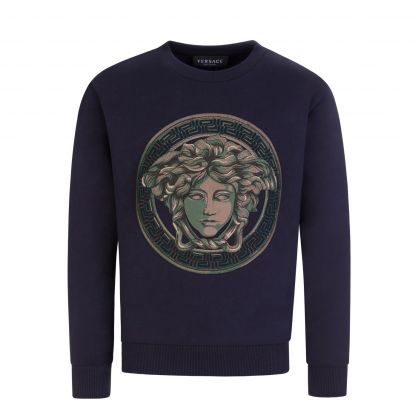 Navy Junior Embroidered Medusa Sweatshirt
