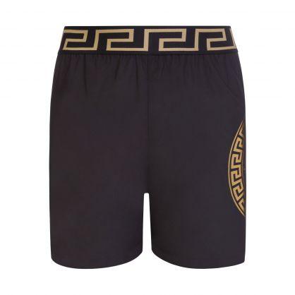 Black Junior Medusa-Print Swim Shorts