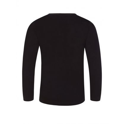 Black Long-Sleeve Casual Logo T-Shirt