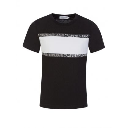 Jeans Kids Black Logo Tape Colourblock T-Shirt