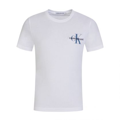 Kids White Chest Monogram Logo T-Shirt