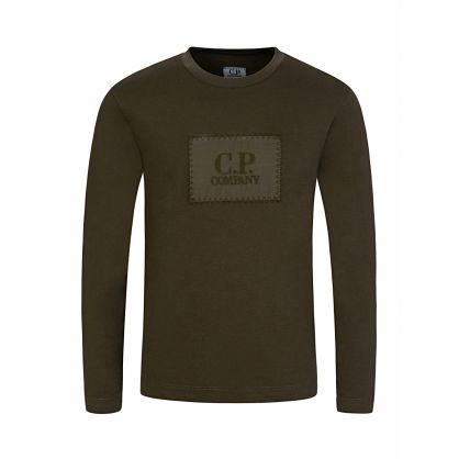 Green Long-Sleeve Patch Logo T-Shirt