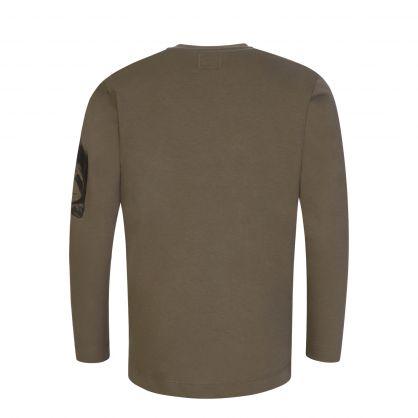 Green Long-Sleeve Lens Print T-Shirt