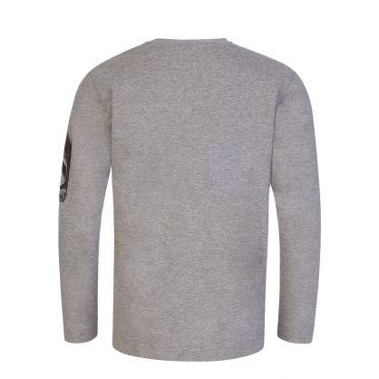 Grey Long-Sleeve Lens Print T-Shirt