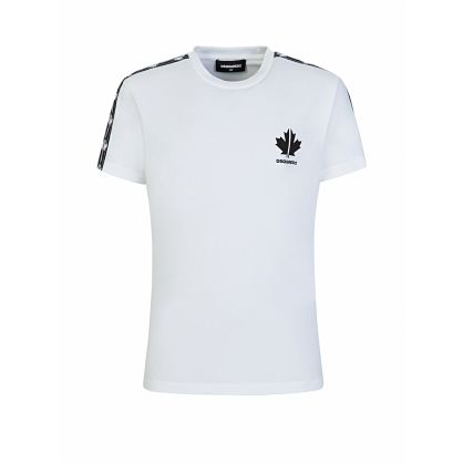 Kids White Cool-Fit Maple Leaf Tape Logo T-Shirt