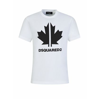 Kids White Relaxed-Fit Maple Leaf Logo T-Shirt