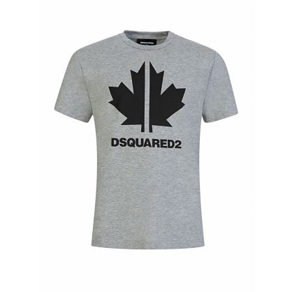 Kids Grey Relaxed-Fit Maple Leaf Logo T-Shirt