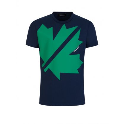 Kids Navy Cool-Fit Maple Leaf T-Shirt