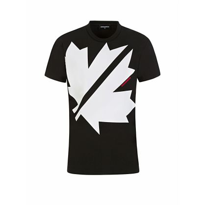 Kids Black Cool-Fit Maple Print T-Shirt